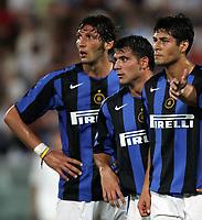 Pisa 14/8/2004 Inter Aek Atene 5-1 Friendly tournament Sky. Marco Materazzi, Dejan Stankovic and Julio Cruz Inter<br /> <br /> Foto Andrea Staccioli Graffiti