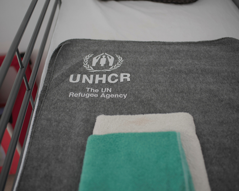 A bunkbed made up with UNHCR bedding in Villa Artemis, a shelter for 30 refugee women and their children in the grounds of Leros Hospital. <br /> <br /> Opened in September 2015, the shelter was run by the Leros Solidarity Network. However, Villa Artemis was closed down shortly after the opening of a 'Hotspot' (EU-run migrant's reception centres) camp in Lepida in February 2016