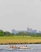 Eton,  GREAT BRITAIN.  Championship M4X Semi Finals left Maindenhead RC and Staines BC, race up the course with Windsor Castle in the background,   at the Eton Schools' Regatta, Eton Rowing Centre, Dorney Lake. [Finish of cancelled National Schools Regatta], Saturday, 07/06/2008  [Mandatory Credit:  Peter SPURRIER / Intersport Images] Rowing Courses, Dorney Lake, Eton. ENGLAND
