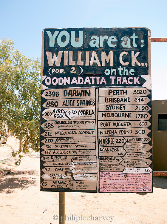 Information sign at William Creek, a small town along the Oodnadatta Track, South Australia, Australia