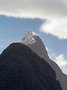 View of Mitre Peak from Milford Sound; Fiordland National Park, New Zealand