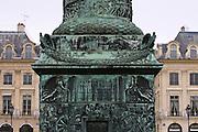 Base of La Colonne Vendôme, staue of Napoleon, Place Vendôme, Paris, France