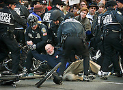 032203  Anti-war protesters  in downtown Seattle.<br /> Protester gets arrested in downtown Seattle.
