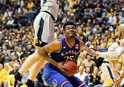 Jan 15, 2018; Morgantown, WV, USA; Kansas Jayhawks center Udoka Azubuike (35) makes a move in the lane and shoots during the first half against the West Virginia Mountaineers at WVU Coliseum. Mandatory Credit: Ben Queen-USA TODAY Sports