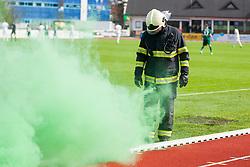 Firefighter during football match between NK Krka and NK Olimpija Ljubljana in Round #27 of Prva liga Telekom Slovenije 2015/16, on 2nd April, 2016 in Portoval, Novo Mesto, Slovenia. Photo by Urban Urbanc / Sportida