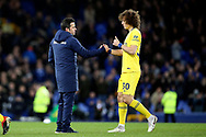 Everton Manager Marco Silva and Chelsea defender David Luiz (30) during the Premier League match between Everton and Chelsea at Goodison Park, Liverpool, England on 17 March 2019.