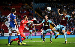 David Raya of Blackburn Rovers clears the ball under pressure from Ashley Barnes of Burnley - Mandatory by-line: Matt McNulty/JMP - 23/08/2017 - FOOTBALL - Ewood Park - Blackburn, England - Blackburn Rovers v Burnley - Carabao Cup - Second Round