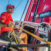 Leg 6 to Auckland, day 19 on board MAPFRE, Xabi Fernandez with the main sail sheet. 25 February, 2018.