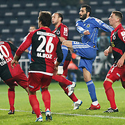 Fenerbahce's Daniel Gonzalez GUIZA (2ndR) and Genclerbirligi's Aykut DEMIR (R) during their Turkey Cup group c matchday 5 soccer match Fenerbahce between Genclerbirligi at the Sukru Saracaoglu stadium in Istanbul Turkey on Thursday 27 January 2011. Photo by TURKPIX