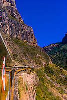 The CHEPE (Chihuahua al Pacifico railroad) train passing through Copper Canyon, Mexico