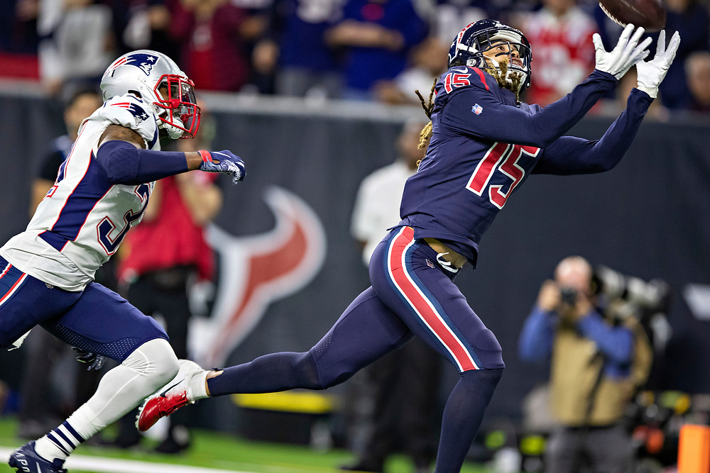 HOUSTON, TX - DECEMBER 1:  Will Fuller V #15 of the Houston Texans catches a touchdown pass in the second half of a game against the New England Patriots at NRG Stadium on December 1, 2019 in Houston, Texas.  The Texans defeated the Patriots 28-22.  (Photo by Wesley Hitt/Getty Images) *** Local Caption *** Will Fuller V