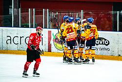 Migross Supermercati Asiago  celebrating goal during Alps League Ice Hockey match between HDD SIJ Jesenice and Migross Supermercati Asiago Hockey on April 17, 2021 in Ice Arena Podmezakla, Jesenice, Slovenia. Photo by Peter Podobnik / Sportida