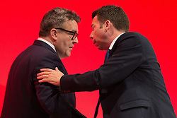 © Licensed to London News Pictures . 25/09/2016 . Liverpool , UK.  TOM WATSON and IAIN MCNICOL at the ACC in Liverpool Docks , on the first day of the Labour Party Conference . Photo credit : Joel Goodman/LNP