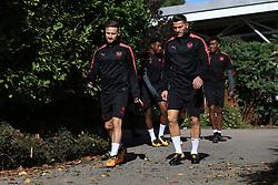 13 September 2017 -  UEFA Europa League (Group H) - Arsenal Training - Shkodran Mustafi and Sead Kolasinac of Arsenal - Photo: Marc Atkins/Offside