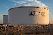 Plains oil stoarge tanks in West , Texas where the fracking industry is booming.