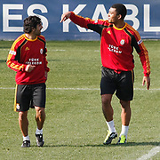 Galatasaray's players Juan Emmanuel CULIO (L) and Colin Kazim RICHARDS (R) during their training session at the Jupp Derwall training center, Thursday, January 20, 2011. Photo by TURKPIX
