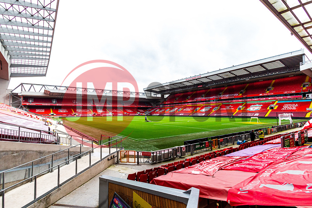 A general view of Anfield, home to Liverpool - Mandatory by-line: Ryan Crockett/JMP - 02/10/2020 - FOOTBALL - Anfield - Liverpool, England - Anfield General Views - GV's