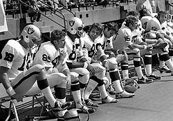 Oakland Raider bench..1972<br />(photo/Ron Riesterer)