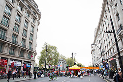 London, UK. 23rd April 2019. Climate change activists from Extinction Rebellion continue to block Oxford Street at Marble Arch as part of the International Rebellion to call on the British government to take urgent action on climate change.