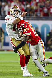 February 2, 2020, Miami Gardens, FL, USA: Kansas City Chiefs inside linebacker Anthony Hitchens (53) sacks San Francisco 49ers quarterback Jimmy Garoppolo (10) during the second half of Super Bowl LIV at Hard Rock Stadium in Miami Gardens, Fla., on Sunday, Feb. 2, 2020. The Chiefs won, 31-20. (Credit Image: © TNS via ZUMA Wire)