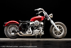 Dave Perewitz's Panhead bobber. Photographed by Michael Lichter in Sturgis, SD. August 6, 2021. ©2021 Michael Lichter