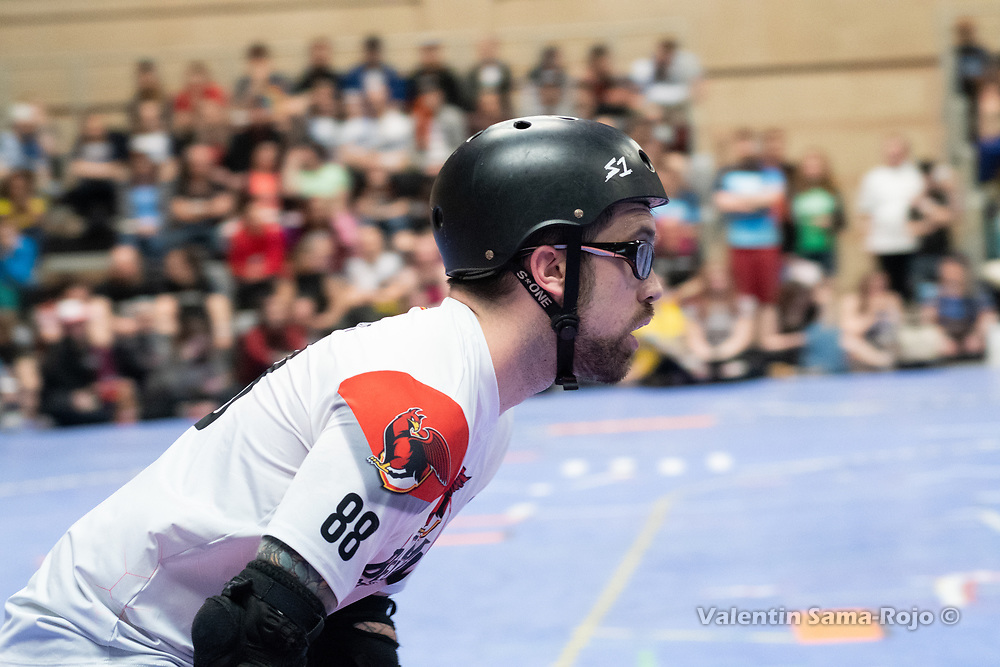Player #88 Trick or Threat of Team Belgium during the game against Team Spain at MRDWC2018 in Barcelona, Spain.
