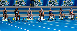 (L-R) Britt de Blaauw, N'ketia Seedo, Marije van Hunenstijn, Naomi Sedney, Demi van den Wildenberg, Bowien Jansen, Anouk Vetter in action on the 60 meters during limit matches to be held simultaneously with the Dutch Athletics Championships on 13 February 2021 in Apeldoorn