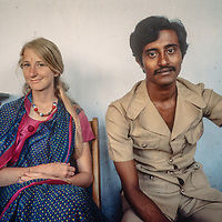 Middle class college students wear the latest fashions as mingle in  in Dhaka, Bangladesh, 1977.  Meredith Wiltsie on left.