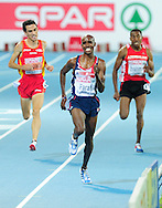 Great Britain's Mo Farah competes to win during the men's 5000m final at the 2010 European Athletics Championships at the Olympic Stadium in Barcelona on July 31, 2010.