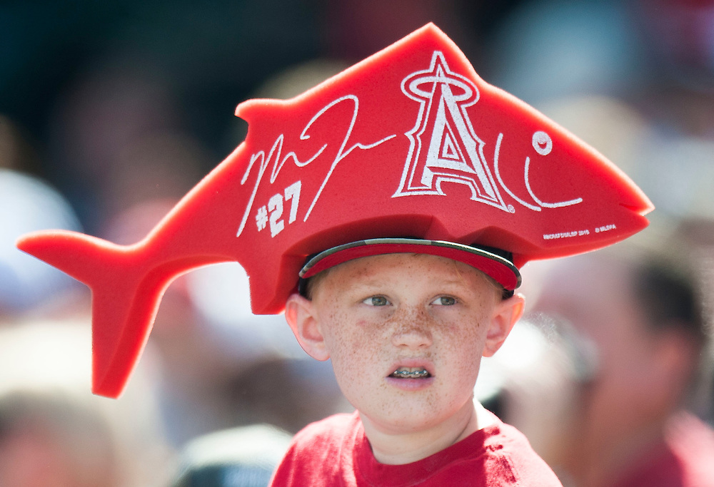 A young Mike Trout fan looks for baseballs during the Angels' preseason game against the Chicago Cubs at Angel Stadium Sunday.<br /> <br /> <br /> ///ADDITIONAL INFO:   <br /> <br /> angels.0404.kjs  ---  Photo by KEVIN SULLIVAN / Orange County Register  --  4/3/16<br /> <br /> The Los Angeles Angels take on the Chicago Cubs at Angel Stadium during a preseason game at Angel Stadium Sunday.<br /> <br /> <br />  4/3/16