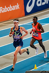 Mike Foppen, Filmon Tesfu in action on the 3000 meter during AA Drink Dutch Athletics Championship Indoor on 21 February 2021 in Apeldoorn.