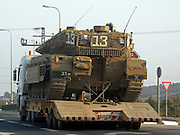 Israel, Merkava mark 3 tank transported on a semitrailer