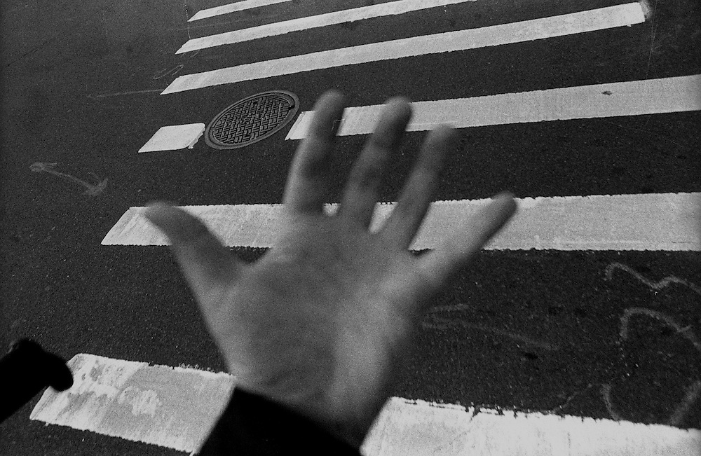 """Hand, Sidewalk and Foot...Part of long-term (2005-2008) story """"I See A Darkness"""". New York, NY."""