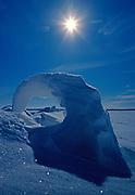 Curled ice formation on pressure ridge on frozen Rainy Lake, Voyageurs National Park, Minnesota.