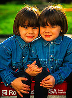 Four year old Portuguese-American twin girls, Danbury, Connecticut USA.