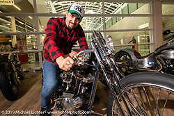 70's Helmets Fabrizio Caoduro on his Radikal Choppers built 1,000cc Ironhead XLCH The Skinny at the Swiss-Moto Customizing and Tuning Show. Zurich, Switzerland. Friday, February 22, 2019. Photography ©2019 Michael Lichter.