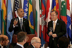 US President Barack Obama (L) raises a toast to the United Nations Secretary-General Ban-Ki moon (R) at a luncheon for world leaders during the United Nations 71st session of the General Debate at United Nations headquarters in New York City, NY, USA, September 20, 2016. Photo by Peter Foley/Pool/ABACAPRESS.COM