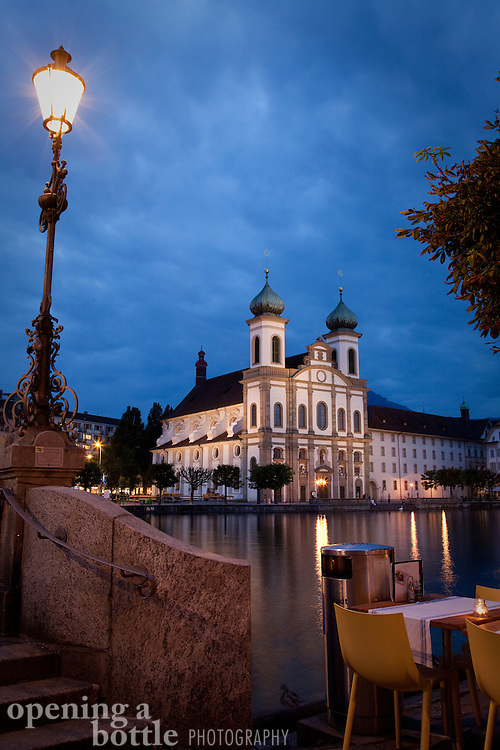 The Jesuit Church over the Reuss River in Lucerne, Switzerland.