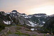 Sunset behind Table Mountain at Heather Meadows, Mount Baker-Snoqualmie National Forest, Washington State, USA .
