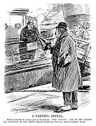 "A Parting Appeal. British taxpayer (to Chancellor of Exchequer). ""Bon voyage! And if the French say anything to you about their inability to pay, don't forget mine."" (an InterWar cartoon showing a British man with an Income Tax Demand seeing off Winston Churchill at the docks on his trip to France)"
