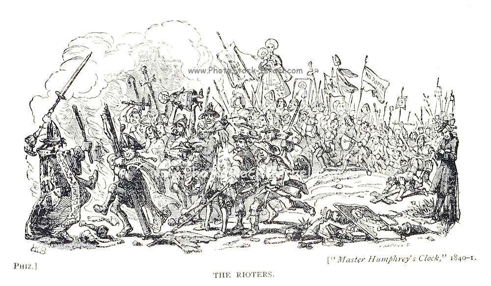 The Rioters by Phiz [Hablot Knight Browne (10 July 1815 – 8 July 1882) was an English artist and illustrator. Well-known by his pen name, Phiz, he illustrated books by Charles Dickens, Charles Lever, and Harrison Ainsworth.] From the book English caricaturists and graphic humourists of the nineteenth century : how they illustrated and interpreted their times by Everitt, Graham, author. Published in London in 1886