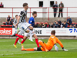 Dunfermline's David Hopkirk scoring their fifth goal. <br /> Dunfermline 7 v 1 Cowdenbeath, SPFL Ladbrokes League Division One game played 15/8/2015 at East End Park.