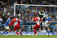Photo: Pete Lorence.<br />Chesterfield Town v Wycombe Wanderers. Coca Cola League 2. 01/09/2007.<br />Jack Lester slams the ball into the back of the net, extending Chesterfield's lead.