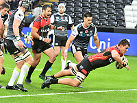 Rugby Union - 2019 / 2020 Guinness Pro14 - Ospreys vs. Southern Kings<br /> <br /> Elrigh Louw of Southern Kings scores a try , at The Liberty Stadium.<br /> <br /> COLORSPORT/WINSTON BYNORTH