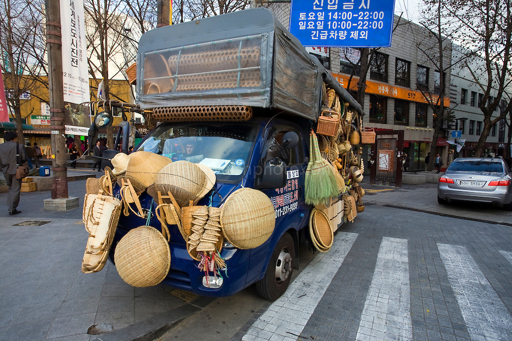 Truck selling baskets and other homeware items, Insadong, Seoul, South Korea