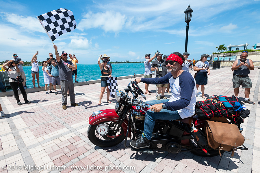 Bob Zeolla riding his 1939 Harley-Davidson EL Knucklehead in the Cross Country Chase motorcycle endurance run from Sault Sainte Marie, MI to Key West, FL. (for vintage bikes from 1930-1948). The Grand Finish in Key West's Mallory Square after the 110 mile Stage-10 ride from Miami to Key West, FL and after covering 2,368 miles of the Cross Country Chase. Sunday, September 15, 2019. Photography ©2019 Michael Lichter.
