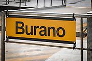 Water taxi sign, Burano, Veneto, Italy