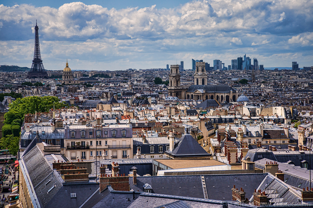 Eiffel Tower & Rooftops of Paris from the Pantheon