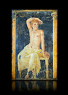Detail of the Roman fresco wall painting of a young man resting from the  triclinium,  a formal dining room, of the Villa Arianna (Adriana), Stabiae (Stabia) near Pompeii , inv 9093, Naples National Archaeological Museum, black background .<br /> <br /> If you prefer to buy from our ALAMY PHOTO LIBRARY  Collection visit : https://www.alamy.com/portfolio/paul-williams-funkystock - Scroll down and type - Roman Fresco Naples  - into LOWER search box. {TIP - Refine search by adding a background colour as well}.<br /> <br /> Visit our ROMAN ART & HISTORIC SITES PHOTO COLLECTIONS for more photos to download or buy as wall art prints https://funkystock.photoshelter.com/gallery-collection/The-Romans-Art-Artefacts-Antiquities-Historic-Sites-Pictures-Images/C0000r2uLJJo9_s0