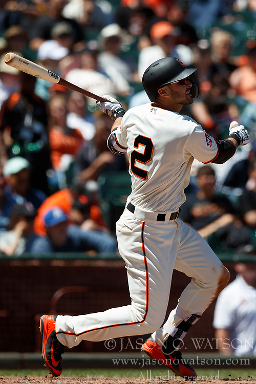 SAN FRANCISCO, CA - JULY 15: Chase d'Arnaud #2 of the San Francisco Giants hits a home run against the Oakland Athletics during the sixth inning at AT&T Park on July 15, 2018 in San Francisco, California. The Oakland Athletics defeated the San Francisco Giants 6-2. (Photo by Jason O. Watson/Getty Images) *** Local Caption *** Chase d'Arnaud
